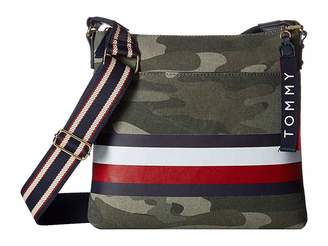 Tommy Hilfiger Carmel Large North/South Camo Canvas Stripe Crossbody
