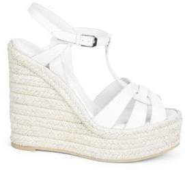 Saint Laurent Tribute T-Strap Leather Wedge Sandals
