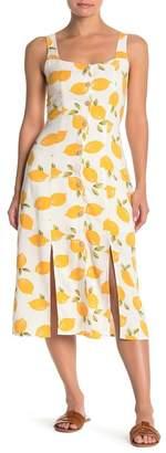 MelloDay Lemon Print Smocked Back Dress