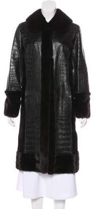 Oscar de la Renta Leather & Mink Knee-Length Coat