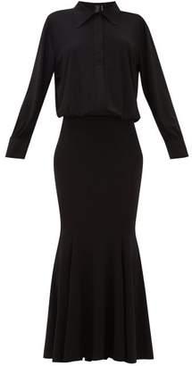 Norma Kamali Boyfriend Fishtail Shirtdress - Womens - Black