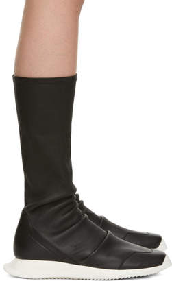 Rick Owens Black Oblique Runner Sock Boots