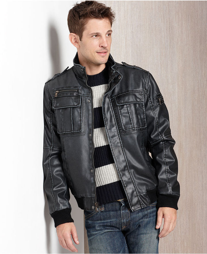 Calvin Klein Jacket, Faux-Leather Sherpa Lined Bomber Jacket