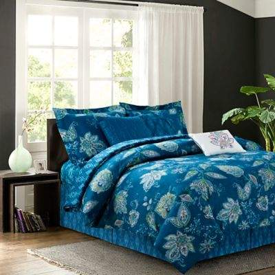 Jaipur 7-Piece Reversible Queen Comforter Set in Teal