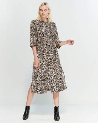 Lush Leopard Print Midi Shirtdress