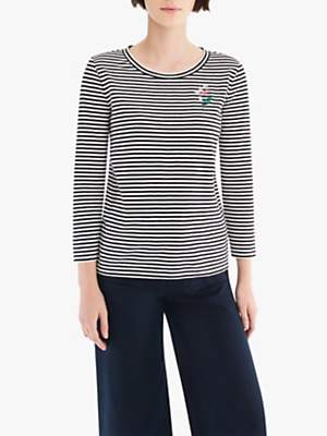 J.Crew Abigail Borg Stripe Embroidered T-Shirt, Black/Ivory