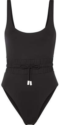 Les Girls Les Boys - Track Shirred Drawstring Swimsuit - Black