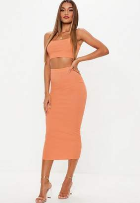 Missguided Peach Ribbed Midi Skirt And Strappy Top Co Ord