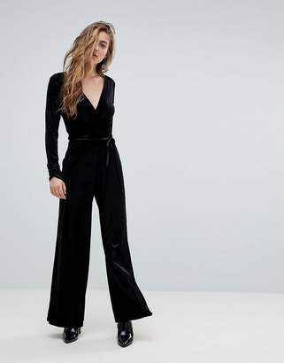 Miss Selfridge V Neck Plunge Velvet Jumpsuit