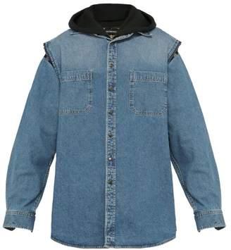 Balenciaga Double Layer Hooded Denim Jacket - Mens - Light Blue
