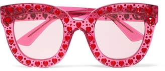 Gucci Crystal-embellished Square-frame Acetate Sunglasses - Bubblegum