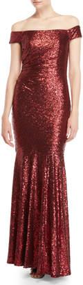 Badgley Mischka Siren Sequin Off-the-Shoulder Gown