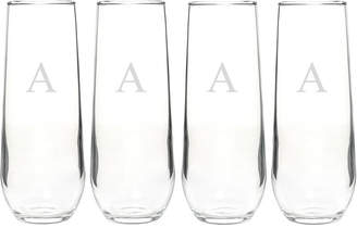 Cathy's Concepts Cathys Concepts Set Of Four Monogrammed 8.5Oz Stemless Champagne Flutes