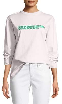 Calvin Klein Crewneck Long-Sleeve Boxy Tee with History Print