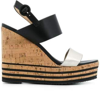 Hogan striped cork platform sandal