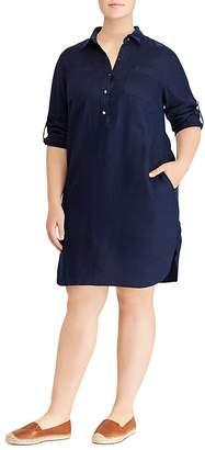 Lauren Ralph Lauren Plus Roll-Sleeve Shirt Dress