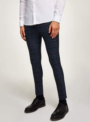 Navy Check Spray On Trousers