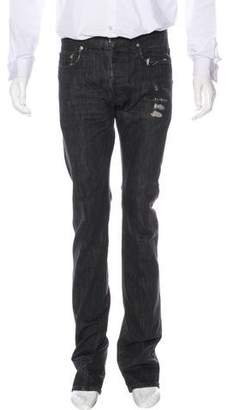 Christian Dior Distressed Straight-Leg Jeans