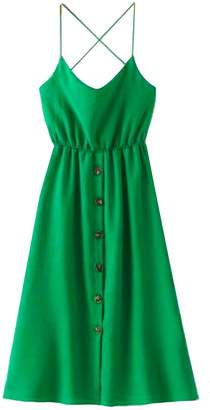 Goodnight Macaroon 'Journee' Button Down Crossed Back Strap Midi Dress