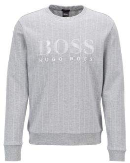 BOSS Hugo Slim-fit sweatshirt flock-print logo & pinstripe L Light Grey