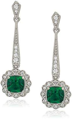 Swarovski Women's Platinum Plated Sterling Silver Synthetic Emerald Cushion Round Cut Zirconia Halo Drop Earrings