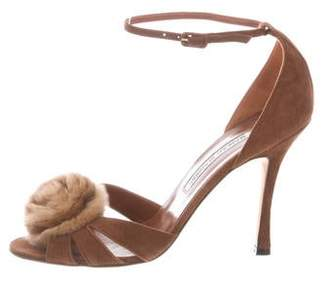 6744982064789 Manolo Blahnik Fur-Trimmed Suede Sandals