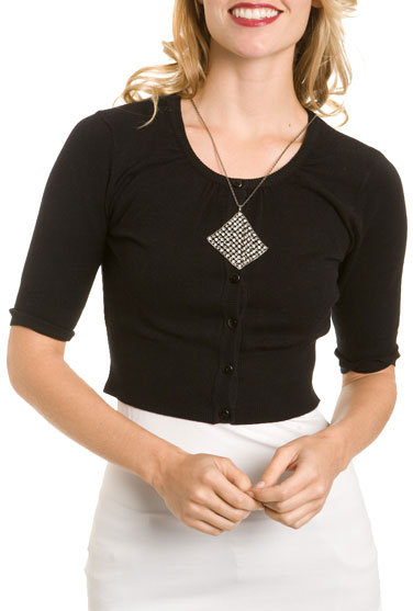 Black Cropped Button Front Sweater