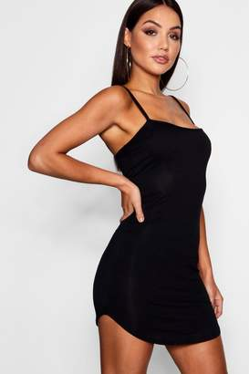 boohoo Jersey Square Neck Curved Hem Mini Dress