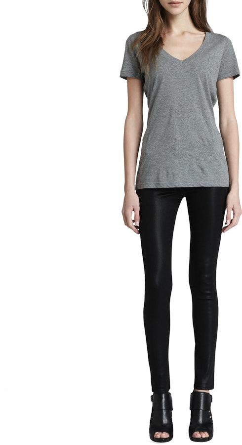 J Brand Jeans Mid-Rise Coated Jeans, Black Quartz