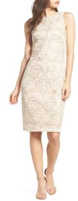 Eliza J Embroidered Sequin Mesh Sheath Dress