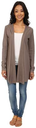 Allen Allen Hooded Open Cardigan Thermal Wrap Women's Coat
