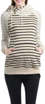 Kimi + Kai Lana Asymmetrical Zip Stripe Hoodie