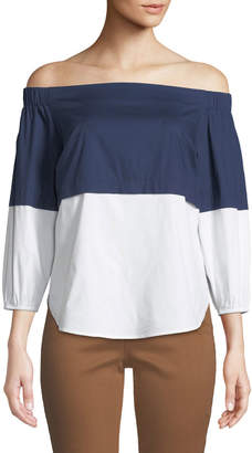 NYDJ Off-The-Shoulder Colorblocked Poplin Blouse