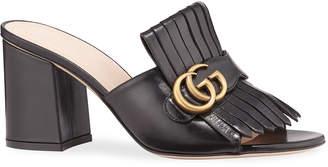 Gucci Marmont Block-Heel Kiltie Sandals