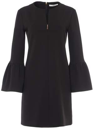 Tibi Structured Crepe Ruffle Sleeve Shift Dress