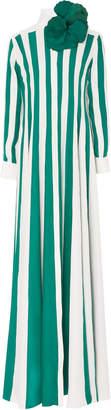 Esme Vie M'O Exclusive Venezia Striped Silk Dress with Brooch