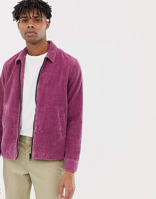 Asos DESIGN harrington jacket in cord in purple