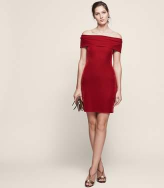 Reiss Verity Velvet Off-Shoulder Dress