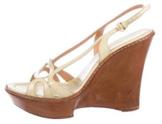 Sergio Rossi Patent Leather Slingback Wedges Yellow Patent Leather Slingback Wedges