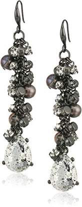 Badgley Mischka Crystal & Pearl Shaky Drop Earrings