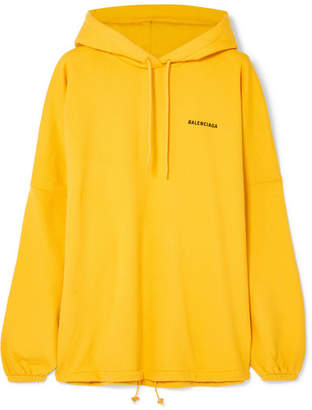 Balenciaga Oversized Embroidered Cotton-blend Jersey Hooded Top - Yellow