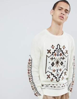 Asos Sweater With Design In Cream