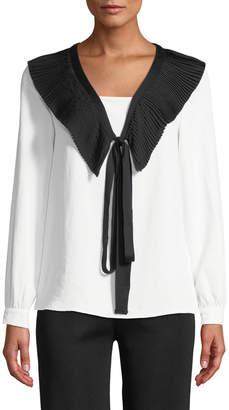 Avantlook Pleated Tie-Neck Blouse