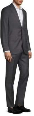 Isaia Charcoal Windowpane Plaid Regular-Fit Suit
