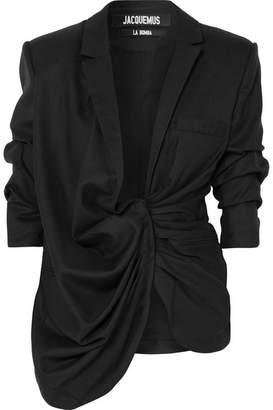 Jacquemus Bahia Asymmetric Wool Blazer - Black