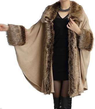 Helan Apparel Helan Women's Luxury Style Faux Fur Cloak Cape Coat Shawl