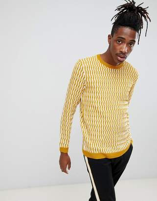 Asos Design DESIGN knitted jumper with textured pattern in mustard