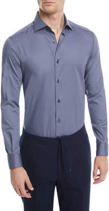Ermenegildo Zegna Micro-Print Sport Shirt, Dark Blue