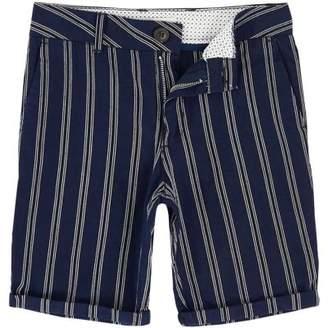 River Island Boys navy stripe Dylan slim fit chino shorts