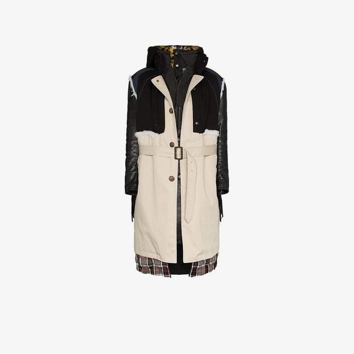 Layered belted leather and calf hair parka coat